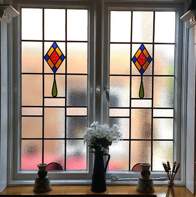 Vintage 1930's Stained and Textured Glass (Leaded) Windows and Frame