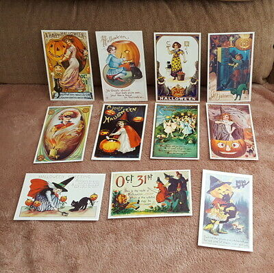 Lot 11 Different Vintage HALLOWEEN Early 20th Century Reproduction Postcards - B