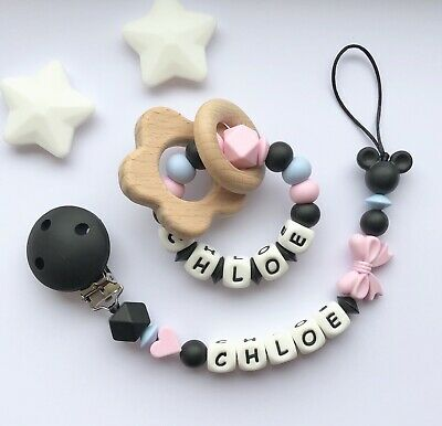 Personalised Dummy Clip And Teether Set -Pacifier Clip - Soother Clip - Pink