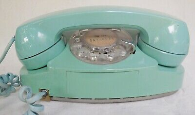 WORKING Princess Phone Aqua Blue Vintage Western Electric Bell System Rotary