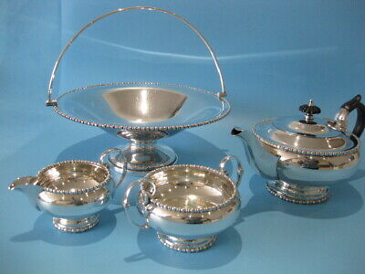 Very Nice Antique Silver Plated Regency Style 3 Piece Tea Service & Platter