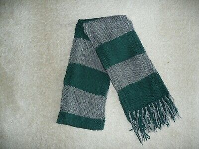 Wizard Scarf  First Year Slytherin School Colors Scarf-  Hand Knit