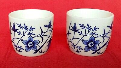 Vintage Egg Cups Cream with Blue Motif