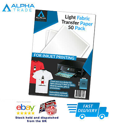 50 x A4 Iron On T-Shirt Transfer Paper for Light Fabric - For Inkjet Printer