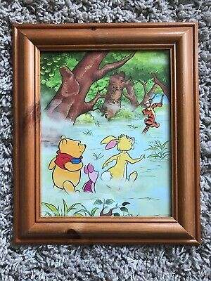 """Winnie The Pooh Picture In Pine Frame 13"""" x 11"""""""