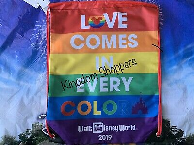 2019 Disney Parks Gay Pride Heart Mickey Mouse Rainbow Cinch Sack Bag Love Color