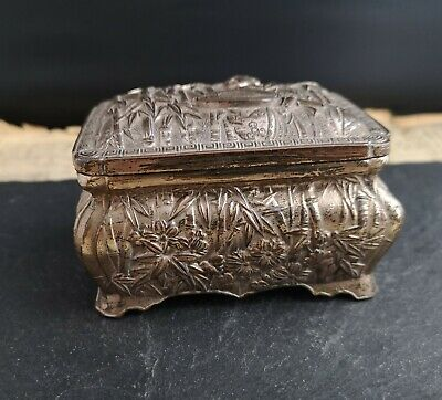 Vintage silver plated jewellery casket, Japanese, mid century