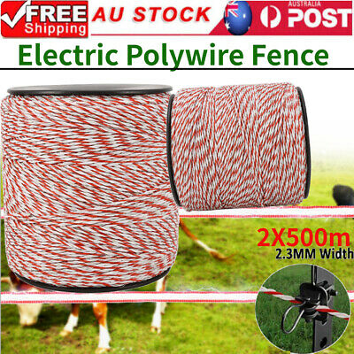 Polywire 2PCS 500m Roll Electric Fence Energiser Stainless Steel Polywire Tool