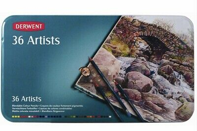 Derwent Artists Pencils 36 - Brand New In Tin Sealed  Free Shipping