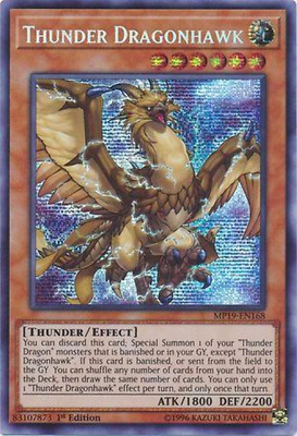 Yugioh | Thunder Dragonhawk - MP19-EN168 - Prismatic Secret Rare NM