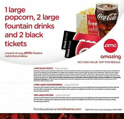 2 AMC Black Tickets, 1 Large Popcorn, 2 Large Drinks *Movie Date Night Deal*
