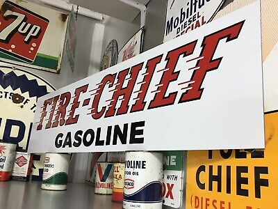 Antique Vintage Old Style Texaco Fire Chief Gasoline Sign!