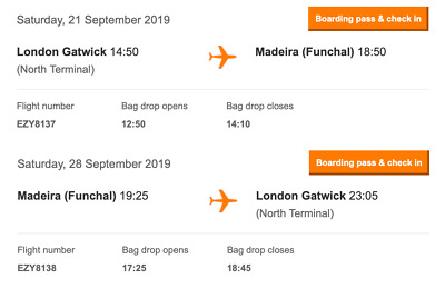 Flights - London Gatwick - Madeira Funchal Easyjet Return Flight Saturday 21st