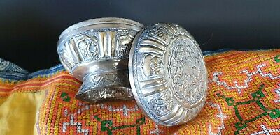 Old Cambodian Silver Round Container …beautiful collection & display piece