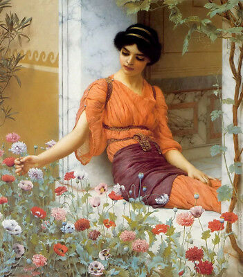 Oil painting john william godward - girl beauty seated & summer flowers canvas