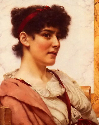 Oil painting john william godward - a classical beauty young woman seated canvas
