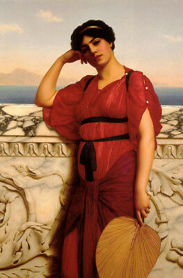 Oil painting john william godward - a classical lady noblewoman holding fan 36""