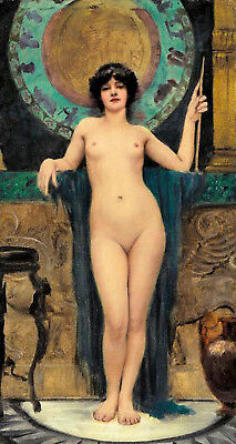 Oil painting john william godward - Priestess girl beauty nudes standing canvas