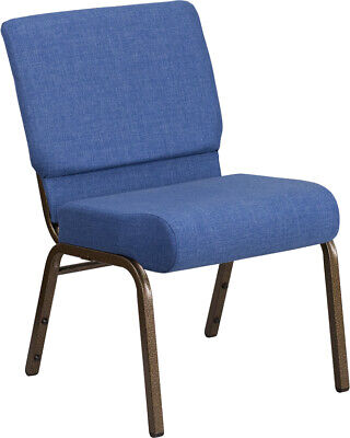 21'' Wide Blue Fabric Stacking Church Chair with Gold Vein Frame