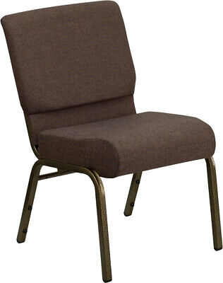 21'' Wide Brown Fabric Stacking Church Chair with Gold Vein Frame