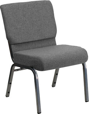 21'' Wide Gray Fabric Stacking Church Chair with Silver Vein Frame