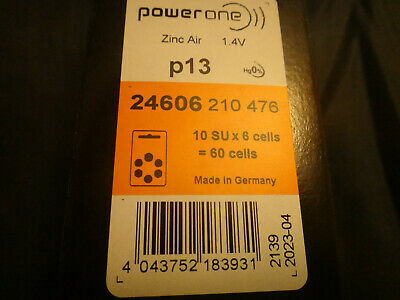 Power One p13 Hearing Aid Batteries 4606, Box of 10 packs x 6 cells = 60