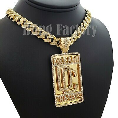 "NEW DC DREAM CHASER PENDANT 4mm//18/"" LINK CHAIN HIP HOP NECKLACE RC867"