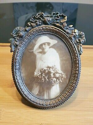 ANTIQUE VICTORIAN BRASS PICTURE FRAME WITH 19th CENTURY MARRIAGE PHOTOGRAPH