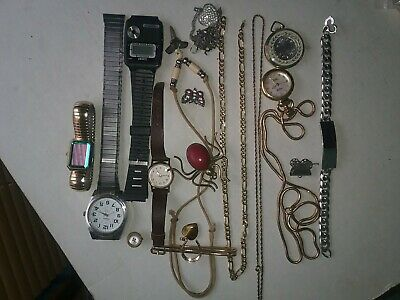 Jewelry Junk Drawer Lot 24K Gold Bonded Chain Watch Skeleton Necklace Spider Pin