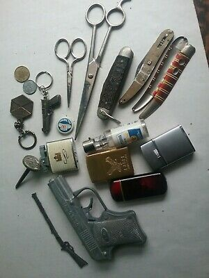 Vintage Lighter Knife Toy Gun Scissors Junk Drawer Lot