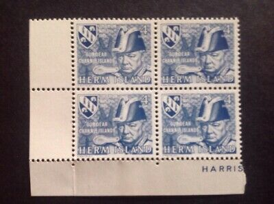 1945 Herm Island Winston Churchill 4 Doubles Perforated Block Of 4. MUH