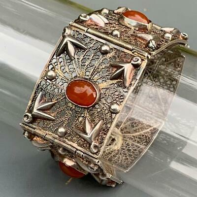 Vintage Art Deco Silver Egyptian Revival Carnelian Filigree Panel Bracelet