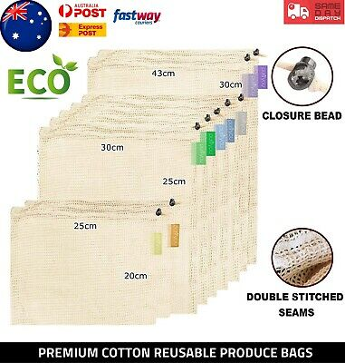 Natural Cotton Mesh Produce Bags Fruit Grocery Reusable Washable Eco Bag AUS