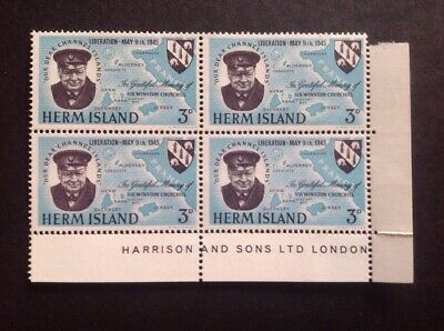 1945 Herm Island Liberation 3d Perforated Block Of 4. MUH