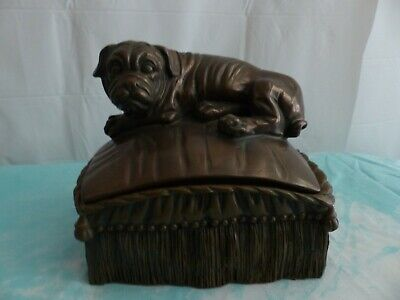 Bronze Color Shar Pei On A Pillow Resin Trinket Box Or Cremation Urn