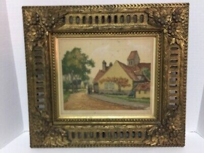 ANTIQUE GOLD GILT FLORAL ORNATE PICTURE FRAME WOOD RESIN W/ Signed PRINT LOOK!