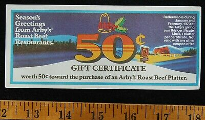 [ 1979 ARBY'S Roast Beef - Vintage Restaurant Gift Certificate / Coupon ]