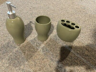 Set of Light Sage Green Bath Accesories Cup, Soap, Toothbrush Holder