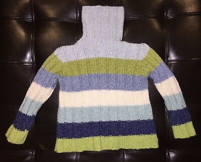 Old Navy Girls Striped Turtleneck Sweater Size 4 EUC! Blue Green Cream