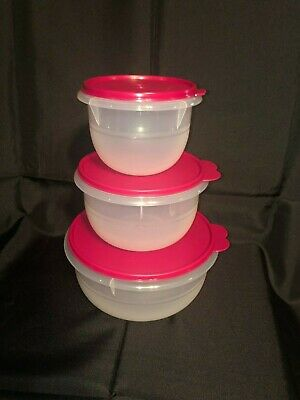 NEW Tupperware Classic 3pc Nesting mixing bowl set Sheer with Pink/Purple seal!