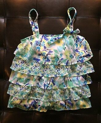 Justice Girls Floral Ruffle Tiered Top Tank Size 10 EUC!!! Blue-Green Multicolor