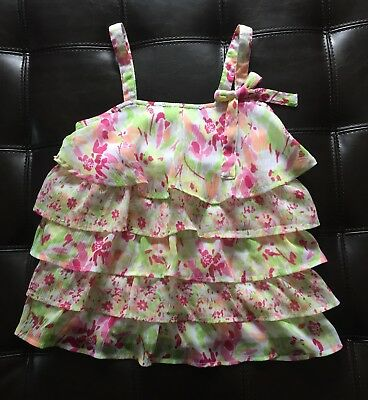 Justice Girls Floral Ruffle Tiered Top Tank Size 10
