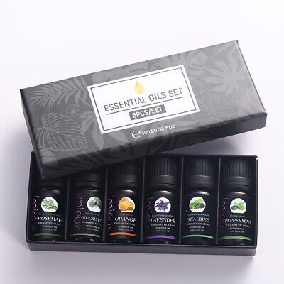 6 Set Essential Oils Pure Aromatherapy Natural Oil Organic Aroma Diffuser Burner
