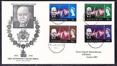 Ascension 1966 Winston Churchill  First Day Cover to London