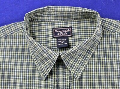 ABERCROMBIE & FITCH dark green yellow white plaid button front shirt boys size M