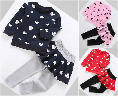 Girls Top Leggings / Skirt Set School 2pcs Casual Autumn Long Sleeve Age 2-8 Yrs