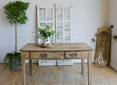 French Antique Oak Farmhouse Country Rustic Dining Kitchen Table with 2 Drawers