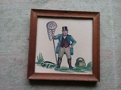 Vintage Packard & Ord Robb Thynne tile framed Fisherman Marlborough fishing net