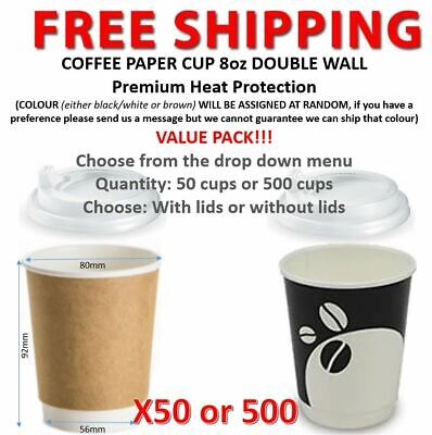Coffee Paper Cups 8oz DOUBLE WALL Lids Takeaway 50 or 500 cups VALUE PACK!!!