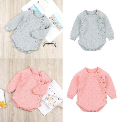 UK Infant Newborn Baby Boy Girl Knitted Romper Bodysuit Crochet Outfits Clothes